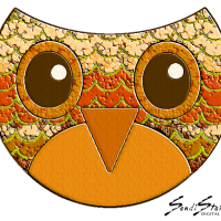 Digital Art: Owl With Many Faces